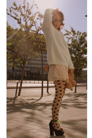 floppy hat H&M hat - knit mint H&M sweater - polka dots H&M tights