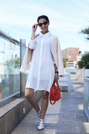 white zalando blouse - ivory System Action jacket - red longchamp bag