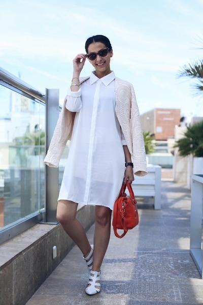 white zalando blouse - ivory System Action jacket - red longchamp bag
