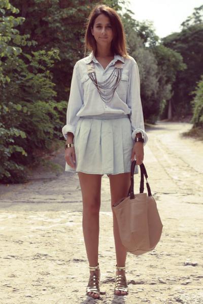 Zara bag - H&M shirt - Zara shorts - asos necklace - Zara sandals
