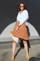 polka Forever 21 skirt - washed denim H&M shirt - round H&M sunglasses