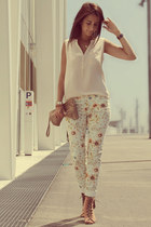 floral print pull&bear pants - ankle boots CATU SHOES boots - nude H&M blouse