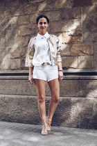 light brown Ganni jacket - ivory Bash shorts
