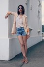 high waisted H&M shorts - Ecugo blazer - H&M blouse