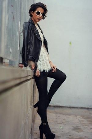 lace Sheinside dress - Forever 21 jacket - round romwe glasses