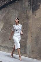 light blue Zara top - white asos shirt - neutral new look sandals