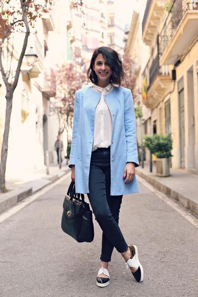 Zara coat - Topshop jeans - Emma Go flats - Mango blouse