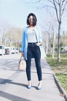 navy Topshop jeans - cream indi & cold bag - sky blue Kimod top