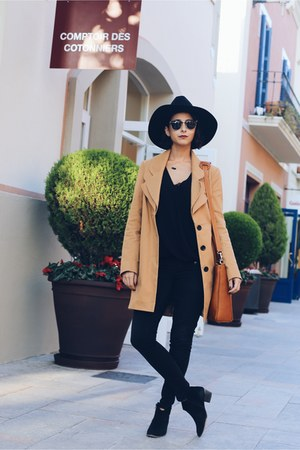 brown fedora asos hat - bronze trench asos coat