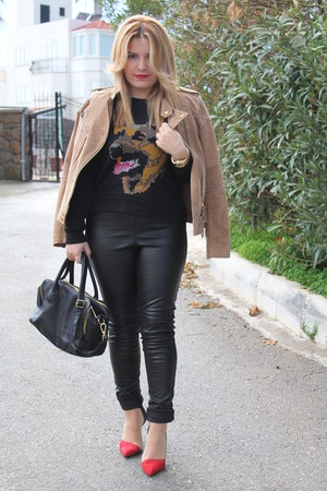 black leather look H&M leggings - light brown suede Mango jacket - black H&M bag
