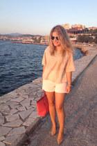 leather Michael Kors bag - Mango shorts - leather Mango heels - Zara blouse