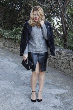 black faux leather Zara skirt - silver sequined Mango jumper