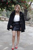 black Mango coat - black leather Mango skirt - white Mango blouse