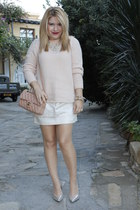 silver leather look Topshop heels - light pink Mango sweater