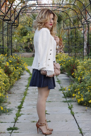 cream boucle Zara jacket - navy leather look Zara skirt