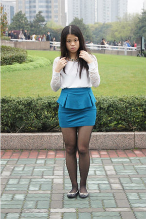peplum CottonOn skirt - lace sleeves Forever 21 top - H&M necklace