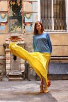 yellow Zara skirt - carrot orange Mexx purse - gold Bershka heels