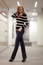 black Mango sweater - blue Hudson jeans - white Topshop shirt - DIY accessories