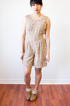 camel leopard print thrifted romper - light brown faux fur lining thrifted clogs