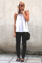 colored mirror asos sunglasses - chain asos bag - sleeveless asos t-shirt