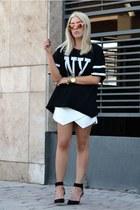 Choies top - colored mirror asos sunglasses - asos bracelet - Zara skirt
