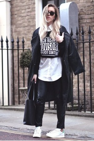 boyish Choies coat - Choies shirt - cropped Choies sweatshirt