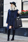 Black-choies-boots-navy-fluffy-furry-ivy-revel-sweater
