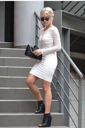 chain cross bag PERSUNMALL bag - Zara boots - mesh dress AX Paris dress