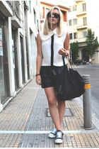 black all star Converse shoes - white sleeveless Nowhere shirt - black H&M bag
