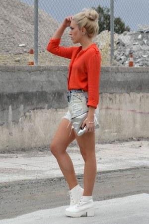 ripped studded iheartshorts shorts - OASAP boots - bright orange cichic shirt