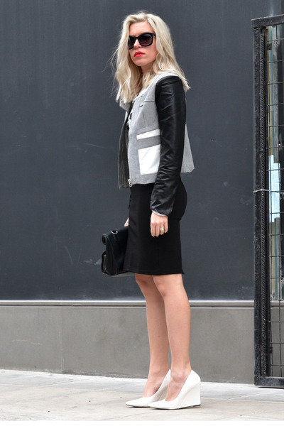 pu Sheinside jacket - black cat-eye H&M sunglasses - romwe vest