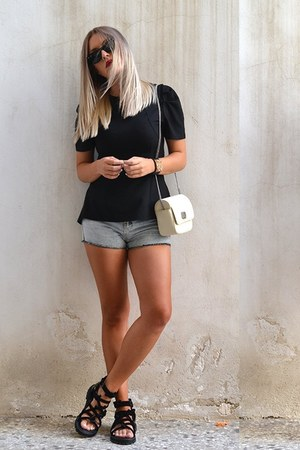 black peplum Sheinside top - Zara bag - high waisted romwe shorts