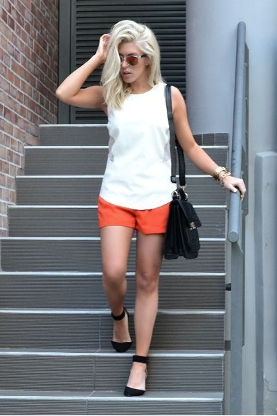 black sandals Zara heels - textured OASAP bag - carrot orange GINA TRICOT shorts
