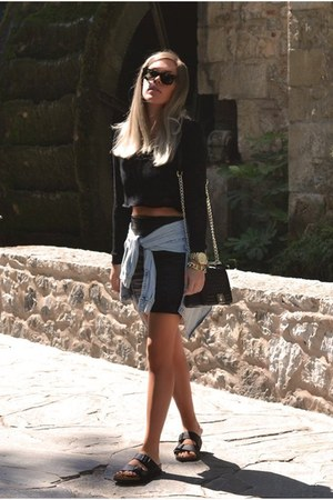 plaid leather Sheinside skirt - sheer cropped Hedonia jumper
