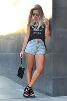 PERSUNMALL top - black quilted PERSUNMALL purse - romwe shorts - PERSUNMALL ring