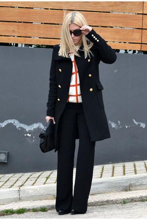 carrot orange plaid knit OASAP sweater - black Zara coat