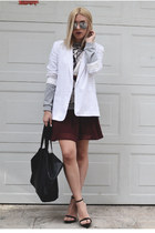 white boyish asos blazer - crimson skater H&M dress - black leather H&M bag