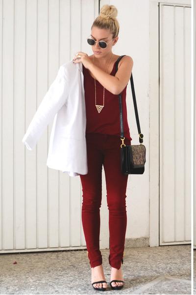 burgundy Zara pants - asos blazer - leopard pull&bear bag - Zara sandals