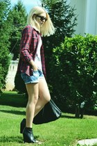 plaid Zara shirt - H&M bag - denim Zara shorts - ankle boots Zara wedges