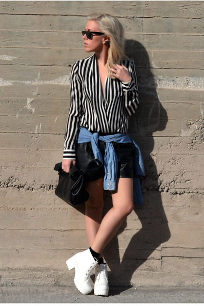 black striped Zara blouse - white OASAP boots - navy denim H&M shirt