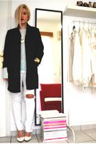 white wedges Mango shoes - black H&M coat - white ripped Zara jeans