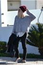 Brick-red-beanie-h-m-hat-heather-gray-knitwear-oasap-sweater