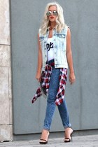 plaid jennyfer shirt - jegging jennyfer jeans - ripped denim jennyfer vest