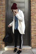 off white boyish Zara coat - black striped Motel Rocks jeans - crimson H&M hat