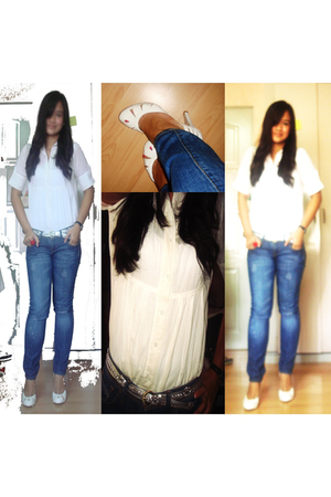 maldita blouse - Mango jeans - People are People belt - Charles and Keith shoes