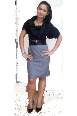 F Alley blouse - banana republic skirt - ensembles belt - Celine shoes