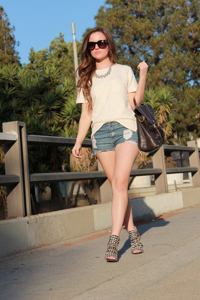 ivory Jcrew shirt - black Zara shoes - light blue Forever21 shorts
