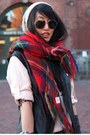 Red-scotland-scarf-light-pink-madewell-shirt-brick-red-h-m-pants