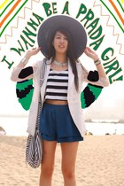 navy Hong Kong hat - white H&M bag - blue korea shorts - black cotton on top