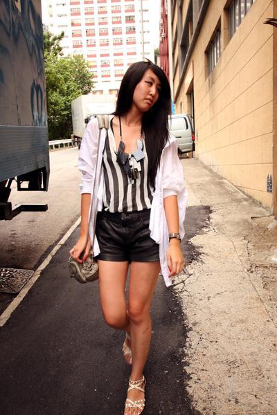 black Zara shorts - black random from Hong Kong top - korea shirt - pink korea s